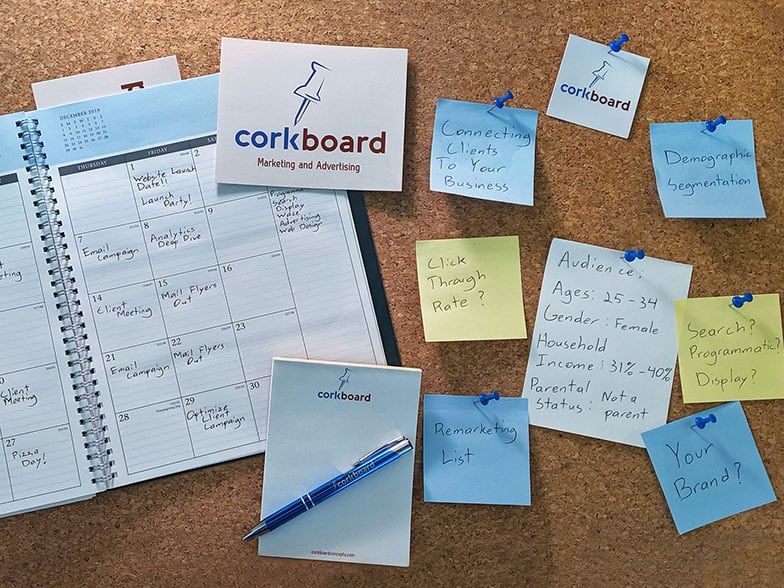 Cork board with post it notes labeling Corkboard Concept's services