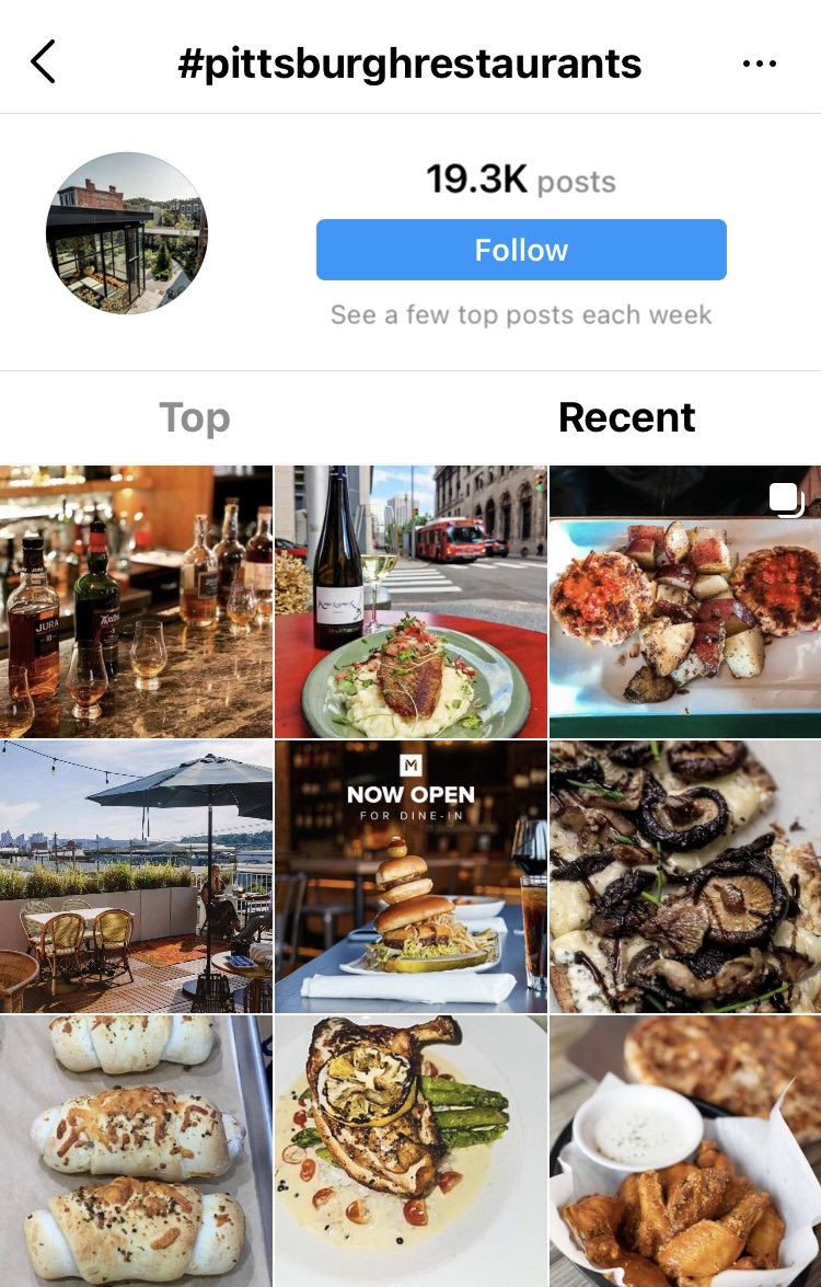 Hashtag Pittsburgh Restaurants search results with recent images